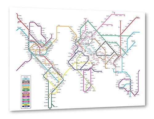 """artboxONE Poster 90x60 cm Kartografie Reise Reise / Länder """"World Metro Map"""" bunt hochwertiger Design Kunstdruck - Bild Kartografie Reise Reise / Länder von Michael Tompsett"""