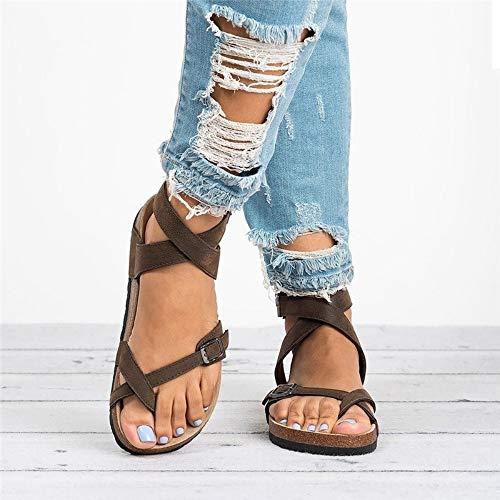 QIMITE Chancletas Las Mujeres De Fondo Plano De Verano Sandalias Pedal Plataforma Hebilla De Correa Correa Cruzada Al Tobillo Señoras Zapatos Playa Plus Size,Foto Color,37