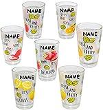 12 tlg. Set - Trinkgläser -  bunte Früchte  - incl. Name - 310 ml - aus Glas - Gläserset - Cocktailgläser - bunt / Sommergläser - 12 teilig - Partybecher - Partygläser - Party / Kinder & Erwachsene - mehrweg Camping Set / Glasbecher - Cocktail Bowleset - Bowle Gläser - Longdrink - Longdrinkglas Saftgläser - Saft Trinkbecher / Becher