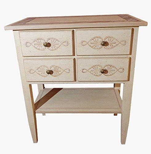 Mobile in legno made in Italy BART sapientemente decorato a mano. Tavolino / porta tv o scrittoio. Mobile salotto, mobile camera da letto. Mobile 4 cassetti ed un ripiano. L68xP39xH80