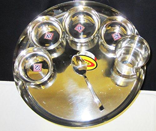 Lot de 7 Pièces en Acier Inoxydable 33 cm de Lot. 3 Petit et 1 Big katorie 1 en verre et 1 cuillère