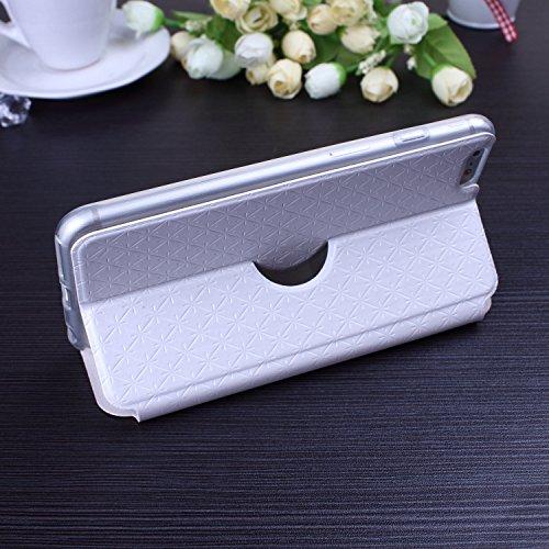iPhone Case Cover Nouveau solide couleur Open Windows Wallet Flip cuir + TPU Cover Case avec support pour IPhone 6S Plus ( Color : Blue , Size : IPhone 6S Plus ) White