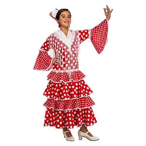 My Other Me Me-203846 Disfraz de flamenca Sevilla para niña, Color rojo, 10-12 años (Viving Costumes 203846
