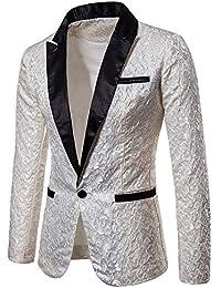Longra-Uomo Giacca Elegante Vestito da Uomo Slim Fit Cappotto Giacca Blazer  in Paillettes Uomo 783134045e3