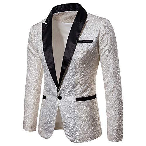 Amoyl Herren Blazer Sakkos Elegante Slim Fit Raglan Ärmel Freizeit Gastgeber Show Party Anzug Jacke Karneval Kostüm Hochzeit Anzug Mantel (Weiß-A, M)