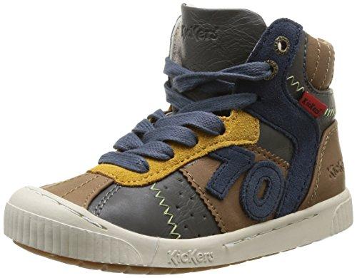 Kickers - Scarpe da ginnastica, Bambino, Multicolore (Multicolore (123 Gris Marron Bleu)), 30