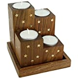 Handmade Wooden Tea Light Candle Holder Set Of 4 Brass Inlay Star,With Tray And 4 Candles Cups - Artisan Crafted In India