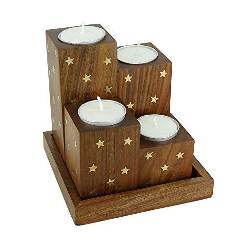 Porta candela in legno fatto a mano set di 4candele stella intarsi in ottone, con vassoio e 4tazze-Artisan Crafted in India