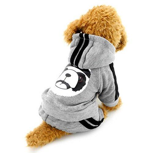 Selmai, calda felpa in pile con cappuccio per cane, modello con panda, ideale per cani di piccola tagli, gatti e cuccioli