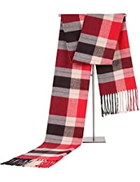GZXCPC Checkered Chic Modern Warm Soft Dense And Skin-Friendly Scarf Made Of Artificial Cashmere, 180 * 35cm, Winter, No Wrinkles And Pilling, Men'S, 4 Designs , 4