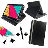 3in1 Set Tablet Tasche - Blaupunkt Discovery 111c / 108c 10.1 Zoll+ Stöpsel + Stylus Touch Pen - 10.1 zoll 3in1* Schwarz