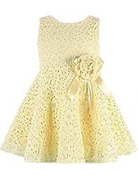 YiJee Niñas Cordón Lleno Floral Vestidos Princesa Sin Mangas Vestido de Fiesta