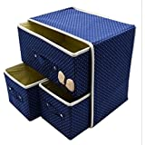 Krevia Fabric 3 Drawer Foldable Storage Box (Multicolour, 30X28X21Cm)