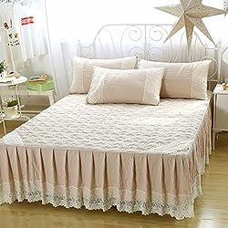 Le fu Yan Falda de la cama hojas volantes colchas protectora más gruesa hoja de algodón de lavado-D 150x200cm(59x79inch)