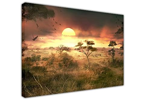 AFRICAN SUNSET WITH WILDLIFE MIST AND TREES NATURE LARGE CANVAS