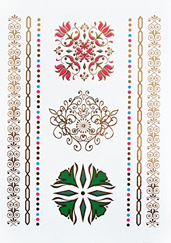 MANDALA Henné Tatouages Temporaires Métalliques tatouages bijoux de peau Or Rose Vert yh086