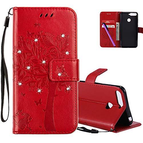 COTDINFOR Huawei Y6 2018 Hülle für Mädchen Elegant Retro Premium PU Lederhülle Handy Tasche mit Magnet Standfunktion Schutz Etui für Huawei Y6 2018 / Honor 7A Red Wishing Tree with Diamond KT.