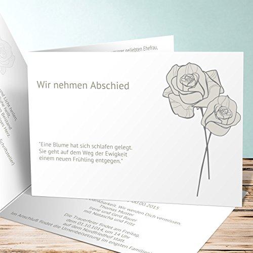 Einladungskarten zur Trauerfeier, Adé 5 Karten, Horizontale Klappkarte 148x105 inkl. weiße Umschläge, Weiß
