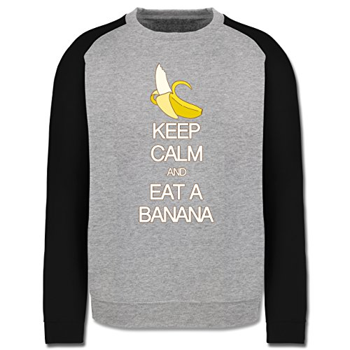 Keep calm - Keep calm and eat a banana - Herren Baseball Pullover Grau Meliert/Schwarz