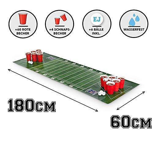 Bier-Pongmatte + 60 rote Bierbecher + 6 Ping Pong Bälle - American Football Design - Set für Bierpong - Party, Festivals, Geburtstagsgeschenk, Turniere, BBQ -