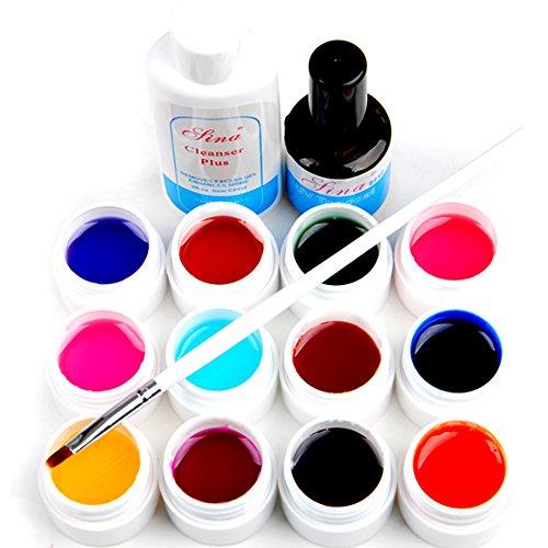 Mode Galerie Lot de 12 Couleurs Transparent UV Gel Constructeur Cleanser Plus Top Coat Brosse à Ongles Décor
