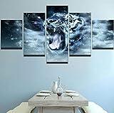 Modern Kunstdrucke 5 Stücke Wand Leinwand Gedruckt Kunst Poster Wohnaccessoires Geschenke 5 Stück Hd Druck Große Tierischer Weißer Tiger, Der Mit Wasser Spielt-200x 100 cm