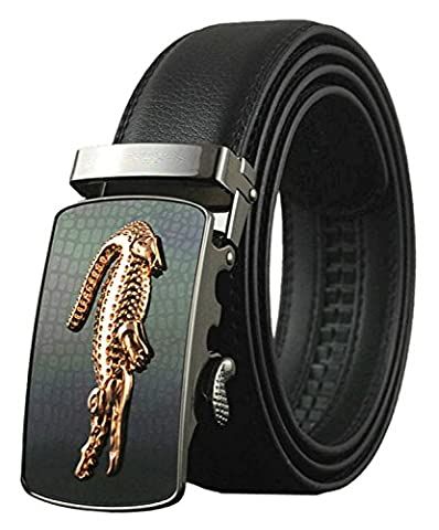 QISHI YUHUA PD Mens Casual Genuine Leather Automatic Buckle Belt, Black 08, Suitable for 20'-39' waist