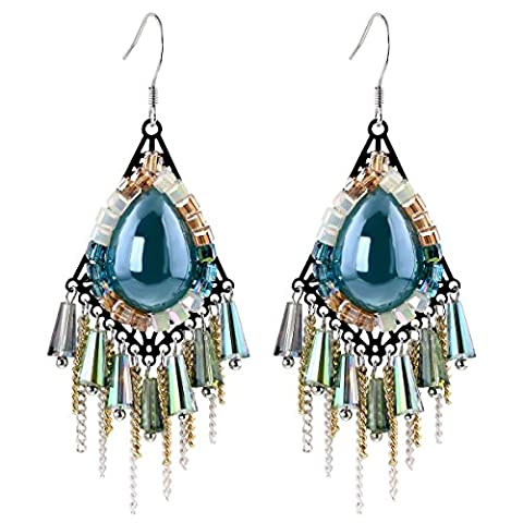 Versilbert Wasser Tropfen Form Harz Stein und Kristall Perlen Quaste baumeln Ohrringe für Frauen Länge (Bead Tropfen Baumeln Ohrringe)