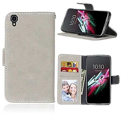 Alcatel Onetouch Idol 3 (4,7 Zoll) Case,BONROY® Alcatel Onetouch Idol 3 (4,7 Zoll) Retro Matte Leather PU Phone Holster Case, Flip Folio Book Case, Wallet Cover with Stand Function, Card Slots Money Pouch Protective Leather Wallet Case for Alcatel Onetouch Idol 3 (4,7