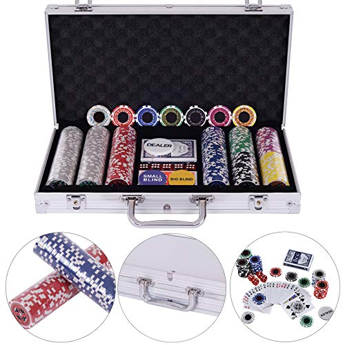 BALLSHOP Pokerkoffer Pokerset Poker Set Laser Pokerchips 300 Chips Alu Koffer Jetons