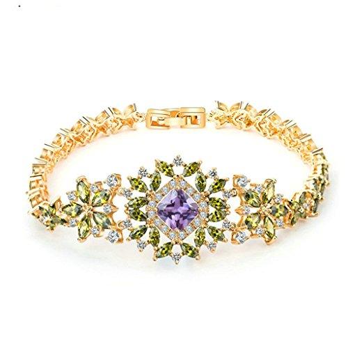 Epinki Damen Armband, Vergoldet Elegant Partnerarmbänder Luxuriös Blumen Lila mit Grün AAA Cubic Zirkonia Damenarmband Armbänder 19CM