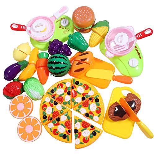 31 PCS Kinder Spielzeug Lebensmittel, iBaseToy Küchenspielzeug Schneideobst Küche Spielzeug Set mit Schneiden Lebensmittel Früchten, Gemüse – GroßartigesFrühes Entwicklungs-pädagogisches Spielzeug Kinder Rollenspiele