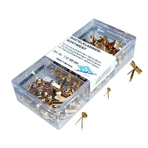 Wedo 11259199 Bastelklammern Sortiment, 240 Stück, Flachkopf und Rundkopf, 3 verschiedene Größen in praktischer Box, vermessingt