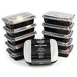 Er [10] Premium 1-compartment Mahlzeit Prep Behälter mit Deckel stapelbar Mikrowelle, spülmaschinenfest und wiederverwendbar Bento Lunchbox/Fächer mit Trennwand Teller von California Home Waren