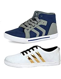 Jabra Stylish Men's White & Blue Stylish Casual Shoes ,Sneakers
