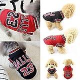 Vawal T-Shirt für Hunde, Hunde Kleidung für Kleine Hunde für Sommer Haustierkleidung Katze Fußball Basketball Jersey T-Shirt Weltmeisterschaft Sweatshirt für Hunde und Katze, Schwarz, Rot (S, Red)