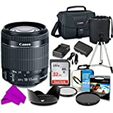 Professional Accessory Kit With Canon EF-S 18Ð55mm F/3.5Ð5.6 Is STM Lens & SanDisk 32GB Class 10 Memory + Canon 100ES Shoulder Bag + Bundle Package For Canon EOS 70D, 80D Digital SLR Cameras