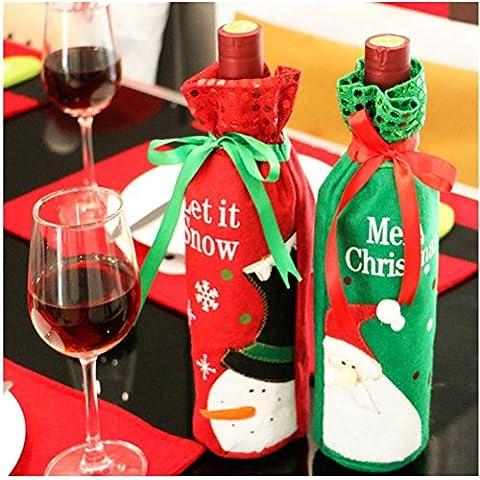 2 Pcs Sac Cadeau de Vin avec Motif de Père Noël Bonhomme de Neige Christmas Décorations