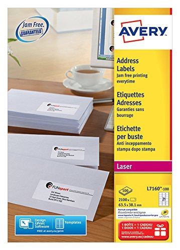 2xAvery L7160-100 Self-Adhesive Address Labels (Amazon FBA Barcode Labels), 21 Labels Per A4 Sheet