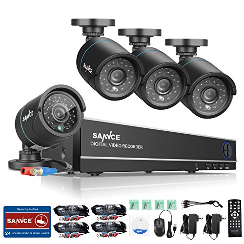 ANNKE Sannce 8 Channel H.264  1080N HD-TVI DVR Security System w/ 4 720P Weatherproof Indoor/Outdoor CCTV Camera Systems, Superior Night Vision, Support AHD/TVI/CVI/960H Security Camera Mode