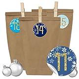 Papierdrachen 24 Adventskalender Kraftpapiertüten mit 24 Aufkleber Zahlen und Klammern - zum selber Basteln - DIY Set Adventskalender zum Befüllen für Erwachsene - Design Nr 26