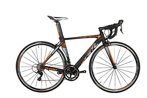 rich bit® R780Road Race bicicletta 18velocità 9marce cassette ultra leggero in fibra di carbonio forcella Shimano 3500700C * 46/48cm nero-arancione, 46 - Strada Del Carbonio Frame Set