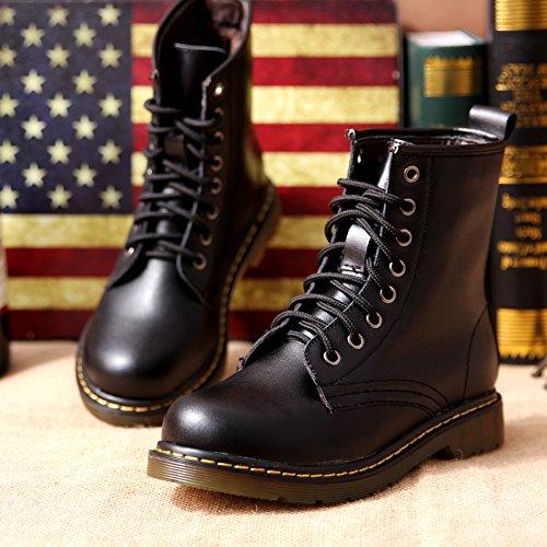 &zhou Base di spessore pelle calda MS autunno/inverno stivali stivali Martin marea stivale moda black velvet