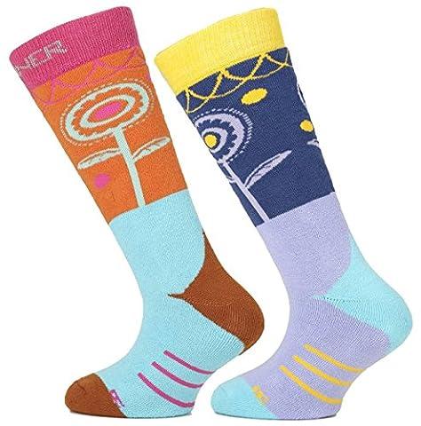 Sinner Paire de chaussettes de ski Fille Pink/Blue Flowers FR : chaussettes : 31-34 (Taille Fabricant : 31-34)