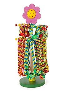 Small Foot 10787 - Expositor con Coloridas Joyas de Madera Hechas de Perlas de Colores con Bonitos Colgantes, 36 Collares y Pulseras Cada uno