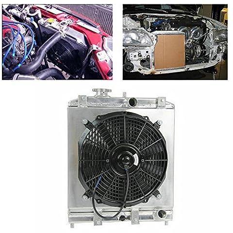 ALLOYWORKS Aluminum Radiator W/Shroud Fan For 1992-2000 Honda Civic EK EG / 1993-1997 DEL SOL (12 Inches Dia.