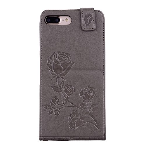 """MOONCASE iPhone 7 Plus Coque, [Embossed Pattern] Card Holster Flip Housse Durable PU Cuir Anti-choc Supports Protection Etui Cases pour iPhone 7 Plus 5.5"""" Violet Gris"""