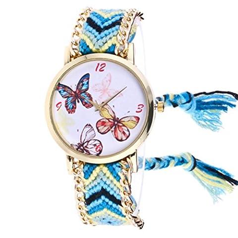 Montre-bracelet pour femme, FeiTong Femmes Hibou Tricoté Tissé Quartz Cadran Bracelet Montre au poignet (Bleu ciel B)