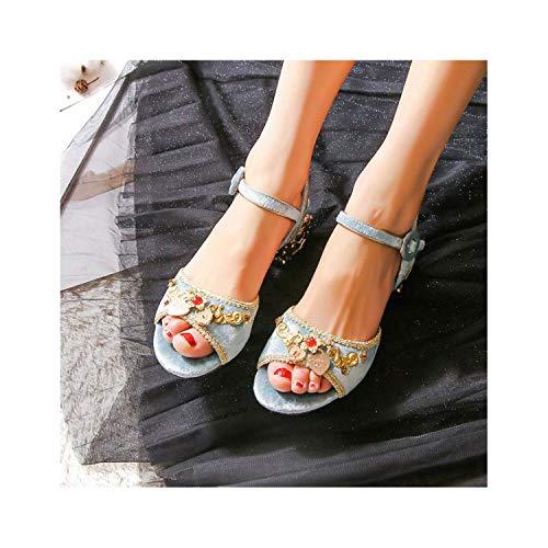 EARIAL& 2018 Fashion Summer Womens Shoes Open Toe High Heels Sandals Women Wedding Shoes Big Size 34-43 Sky Blue 8.5 - Naturalizer Ankle Strap Sandalen