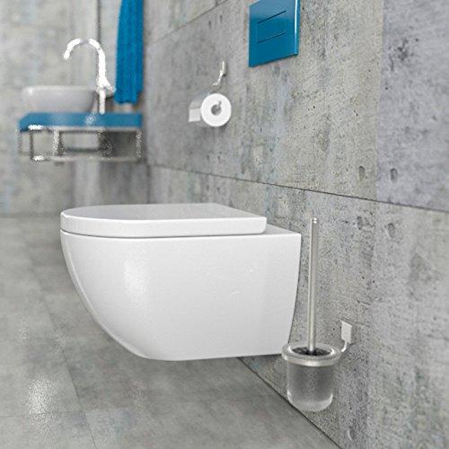 Design Wand-Hänge-WC Toilettenschüssel Tiefspüler inkl. WC Sitz aus Duroplast mit Metallscharnieren Absenkautomatik Spülrandlos Rimfree Nanobeschichtung Randlos KB-DE6ZPW